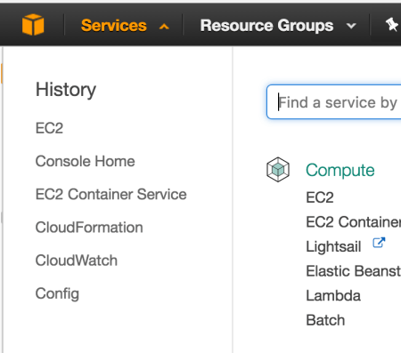 Screen of AWS 1 of 2
