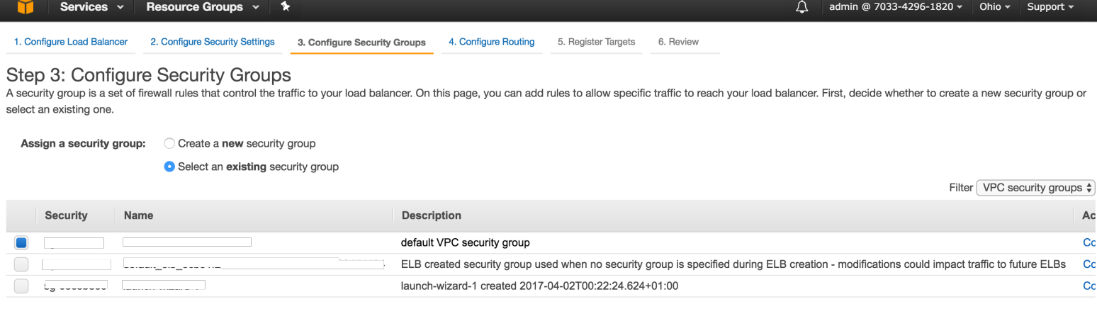 Security Group AWS Page