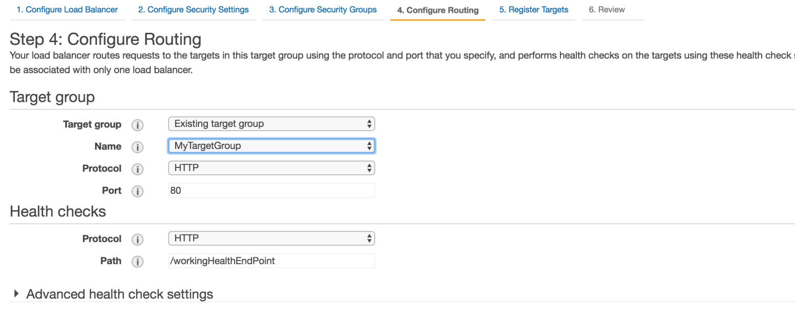 Configure Routing AWS Page