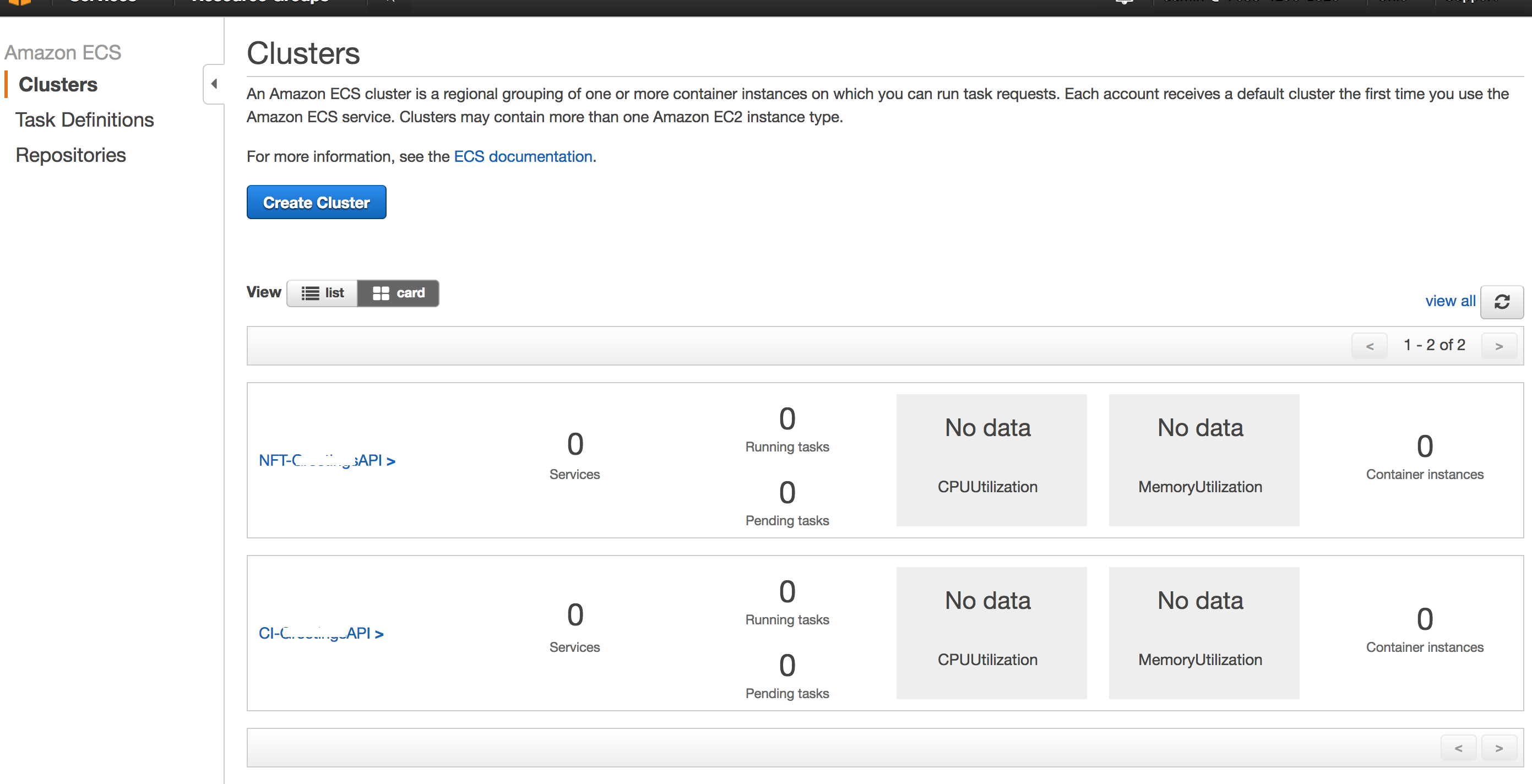Cluster AWS Page